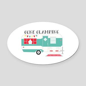 Gone Glamping Oval Car Magnet