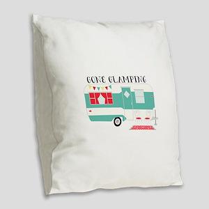 Gone Glamping Burlap Throw Pillow