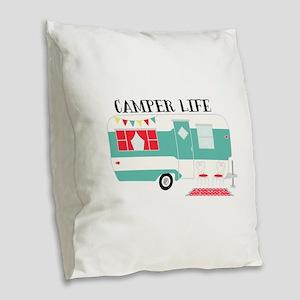 Camper Life Burlap Throw Pillow