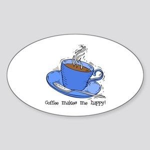 Happy Coffee Oval Sticker