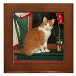 Flower cat Framed Tile