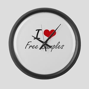 I love Free Samples Large Wall Clock