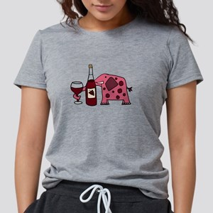Pink Elephant Drinking Wine T-Shirt