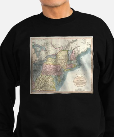 Vintage Map of New England (1821 Sweatshirt (dark)