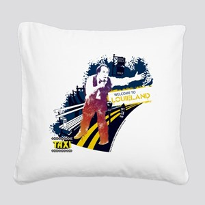 Taxi Louieland Square Canvas Pillow
