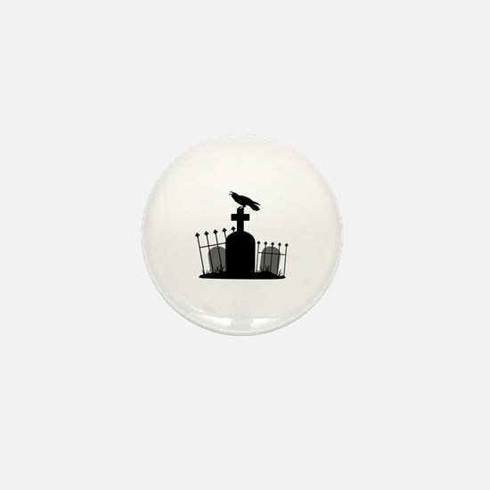 Cemetery Crow Mini Button