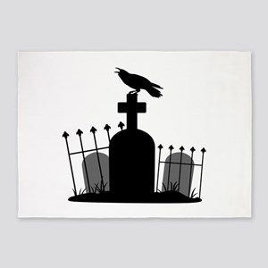 Cemetery Crow 5'x7'Area Rug