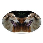 Red and White Borzoi Oval Sticker