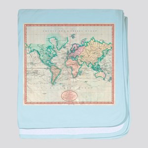 Vintage Map of The World (1801) baby blanket
