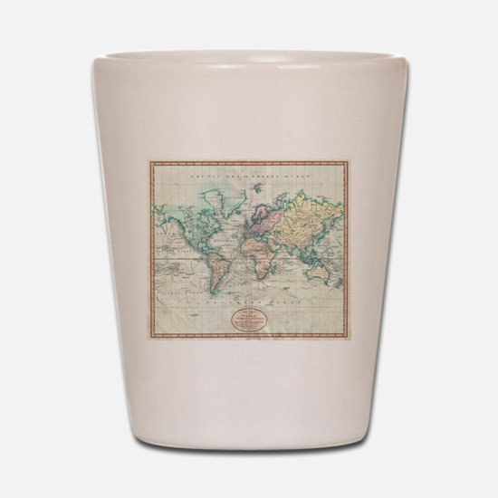 Vintage Map of The World (1801) Shot Glass