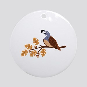 Fall & Quail Round Ornament