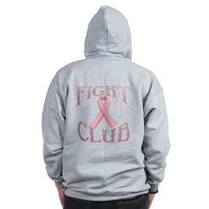 Fight Club with Pink Ribbon Zip Hoodie