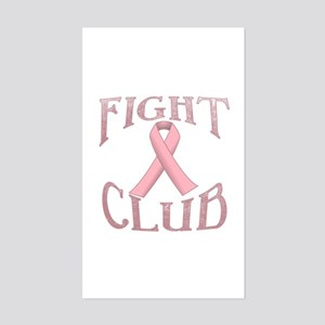 Fight Club with Pink Ribbon Sticker (Rectangle)