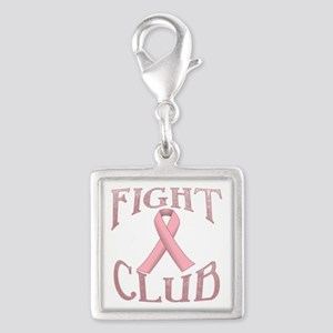 Fight Club with Pink Ribbon Silver Square Charm