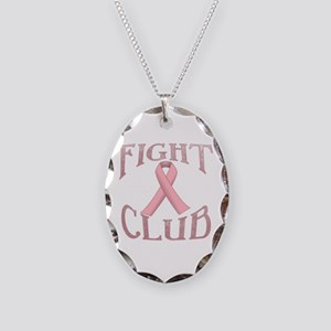 Fight Club with Pink Ribbon Necklace Oval Charm