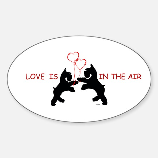 giant schnauzer hearts love i Oval Decal