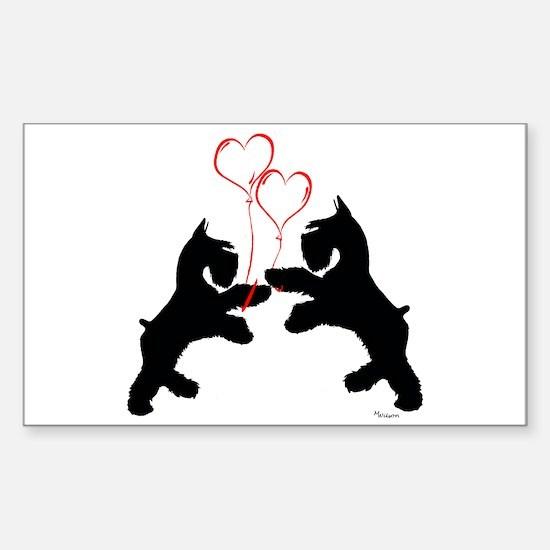 giant schnauzer hearts love i Sticker (Rectangular