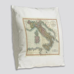 Vintage Map of Italy (1799) Burlap Throw Pillow