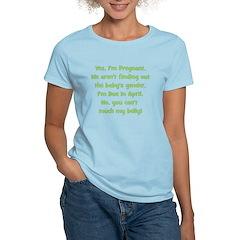 Pregnant Surprise due April B Women's Light T-Shir