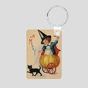 Vintage Halloween Witch Aluminum Photo Keychain