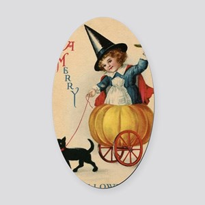 Vintage Halloween Witch Oval Car Magnet