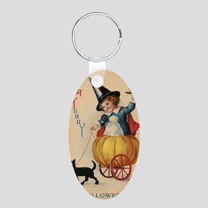 Vintage Halloween Witch Aluminum Oval Keychain