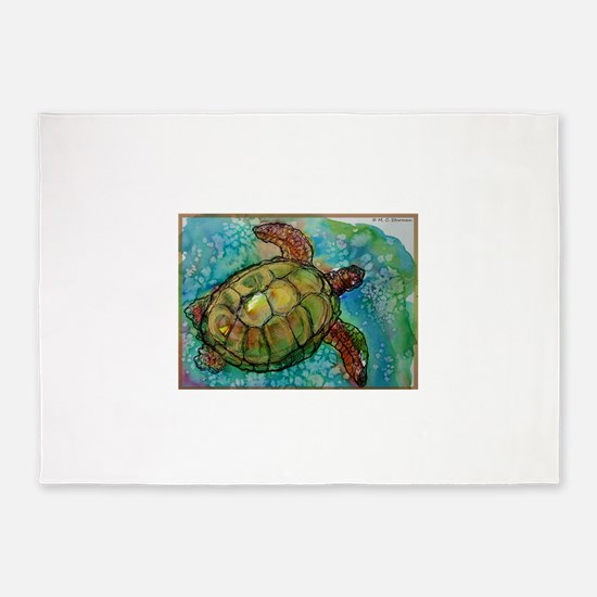 Sea turtle! Wildlife art! 5'x7'Area Rug