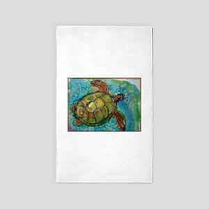 Sea turtle! Wildlife art! Area Rug