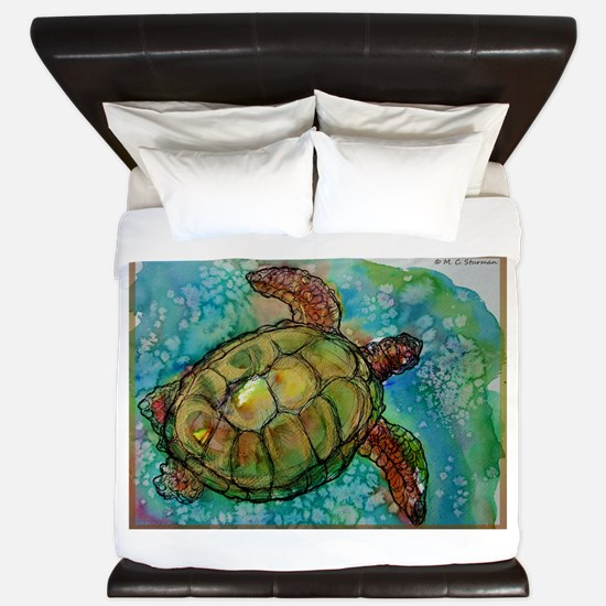 Sea turtle! Wildlife art! King Duvet