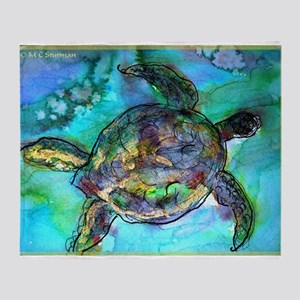 Sea Turtle, Wildlife art! Throw Blanket