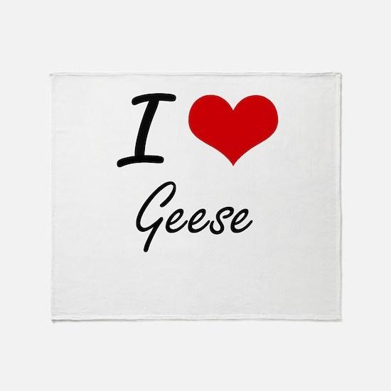 I love Geese Throw Blanket