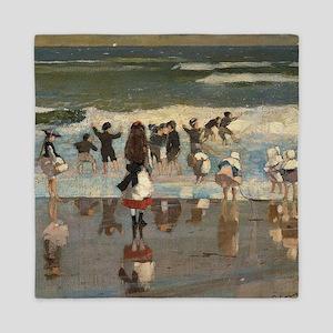Beach Scene - Winslow Homer Queen Duvet