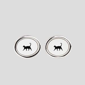 Black Cat Oval Cufflinks