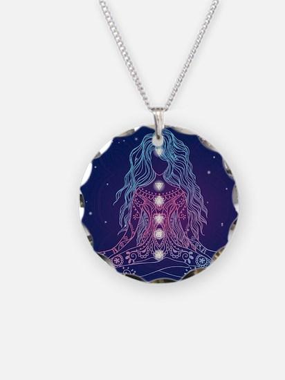 Yoga Girl Detailed Design Necklace Circle Charm