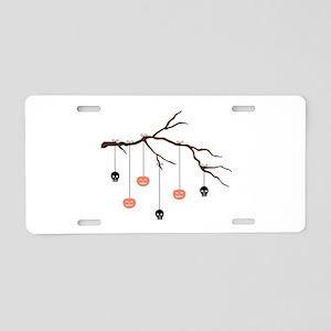 Halloween Tree Aluminum License Plate
