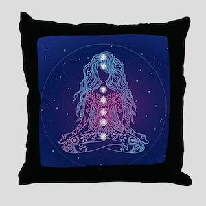 Yoga Girl Detailed Design Throw Pillow