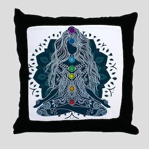 Yoga Girl Pose Blue Throw Pillow