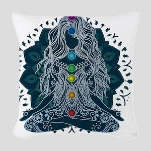 Yoga Girl Pose Blue Woven Throw Pillow