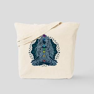 Yoga Girl Pose Blue Tote Bag