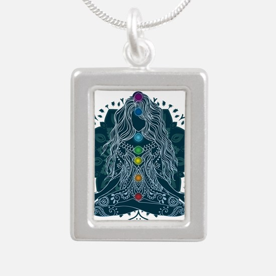 Yoga Girl Pose Blue Necklaces
