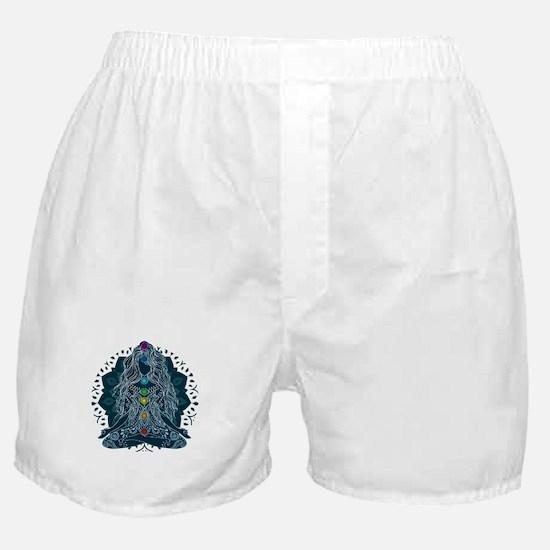 Yoga Girl Pose Blue Boxer Shorts
