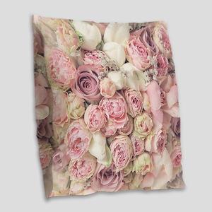 Roses Burlap Throw Pillow