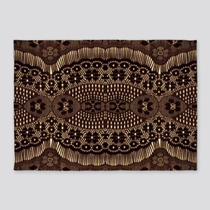 girly vintage brown lace 5'x7'Area Rug