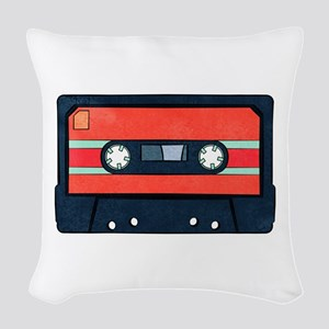 Red Cassette Woven Throw Pillow
