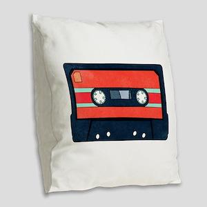 Red Cassette Burlap Throw Pillow