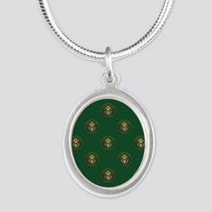 U.S. Army: Army Symbol (Green Silver Oval Necklace
