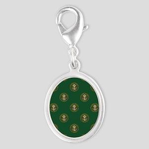 U.S. Army: Army Symbol (Green) Silver Oval Charm