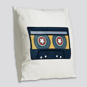 Orange Cassette Burlap Throw Pillow