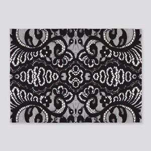 Paris vintage black lace 5'x7'Area Rug