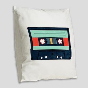 Indigo Cassette Burlap Throw Pillow